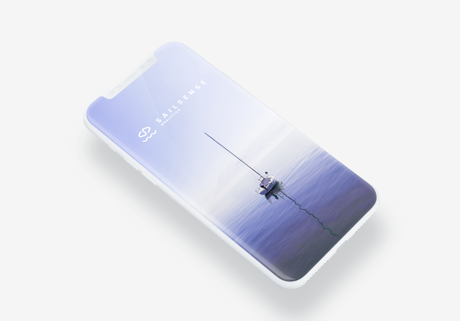 app design showing a sailboat in a wide, purple and white scene