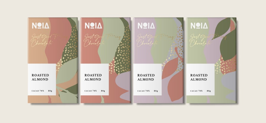 candy bars in colorful color blocked packaging
