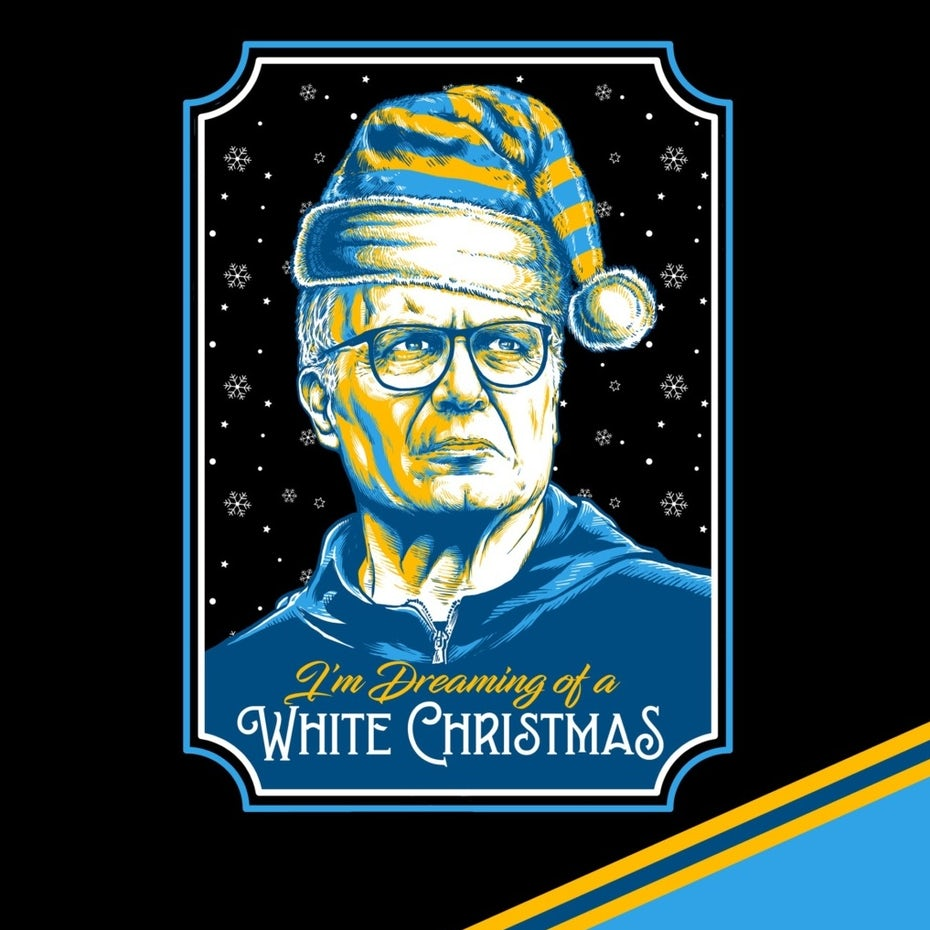 illustration of a man in blue and yellow, wearing a Santa hat