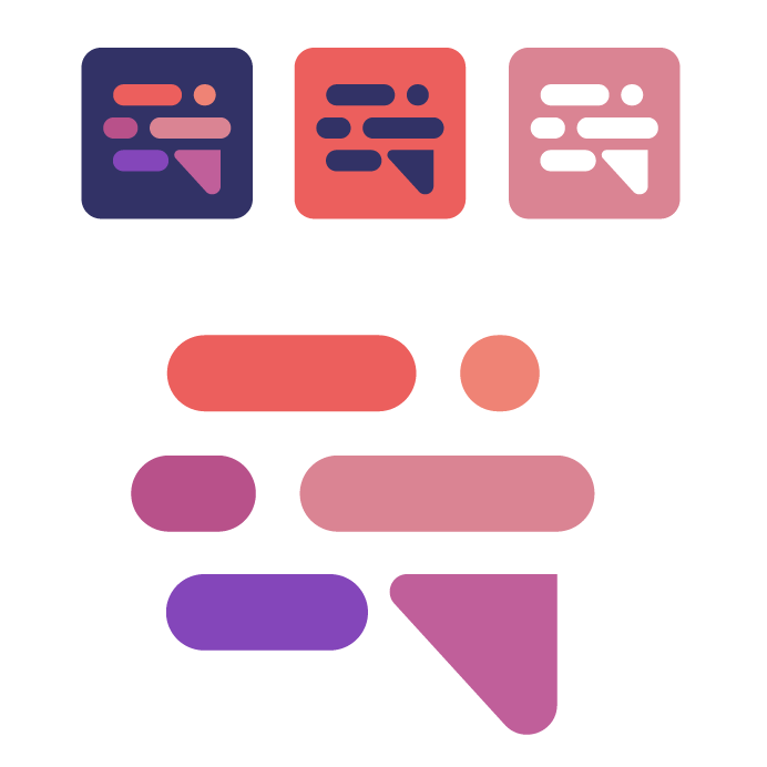 logo design trends example: analogous color scheme logo with red and purple