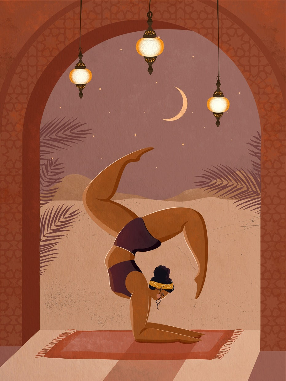 semiflat illustration of a woman doing yoga in a doorway