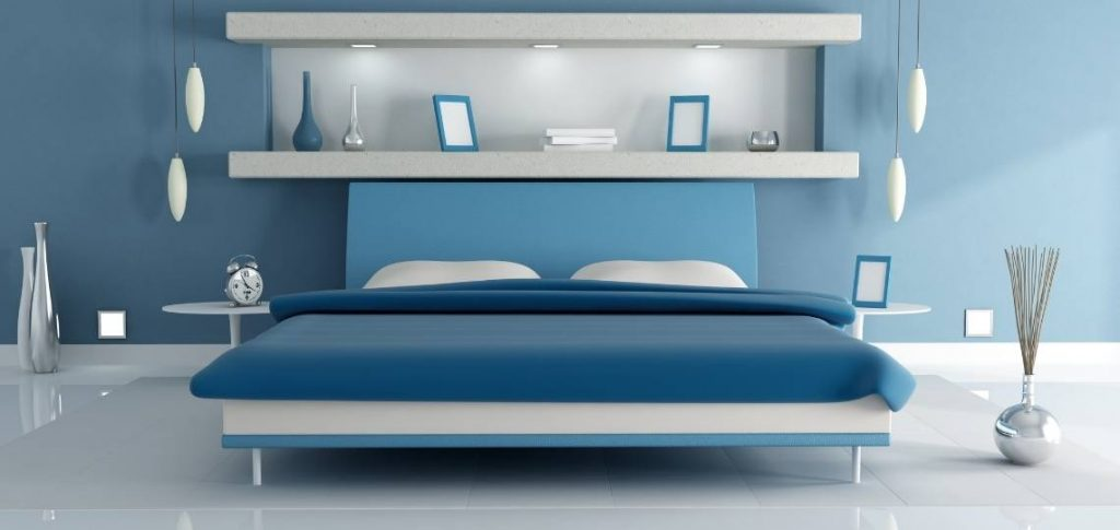 platform bed with an upholstered headboard